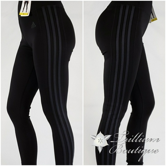 6119c0cf62ed adidas Pants | Nwt Ladies 3 Stripe Tights Blackcarbon | Poshmark